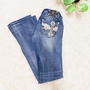 Miss me crystal studded cross angel wings jeans